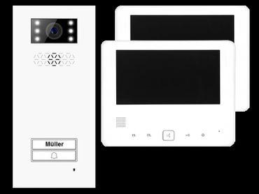 Türsprechanlage Einfamilienhaus Türstation XD1 + 2x Monitor XD7