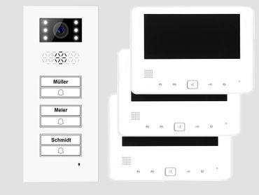 Türsprechanlage 3- Dreifamilenhaus Türstation XD3 + 3x Monitor XD7