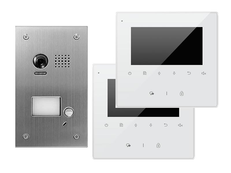 """weiß 4 Draht Video Türsprechanlage mit 2 x 4/"""" Monitore"""