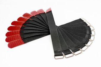 Kabelbinder / Kabelklette - 2,0cm Breit - 30cm lang - Schwarz/Rot - 10 Stück