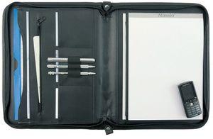 Schreibmappe Konferenzmappe A4 Leder schwarz