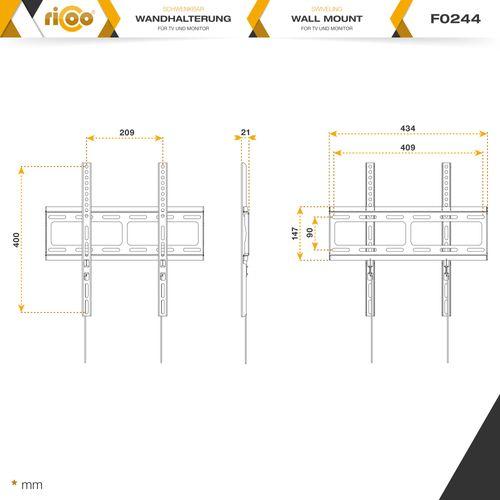 """TV Wandhalterung Universal F0244 Flach Ultra Slim Fernsehhalterung Halterung LCD Wandhalter LED Flachbildschirm Bildschirmdiagonale 66cm/26""""- 140cm/55"""" Zoll / VESA 200x200 bis 400x400"""