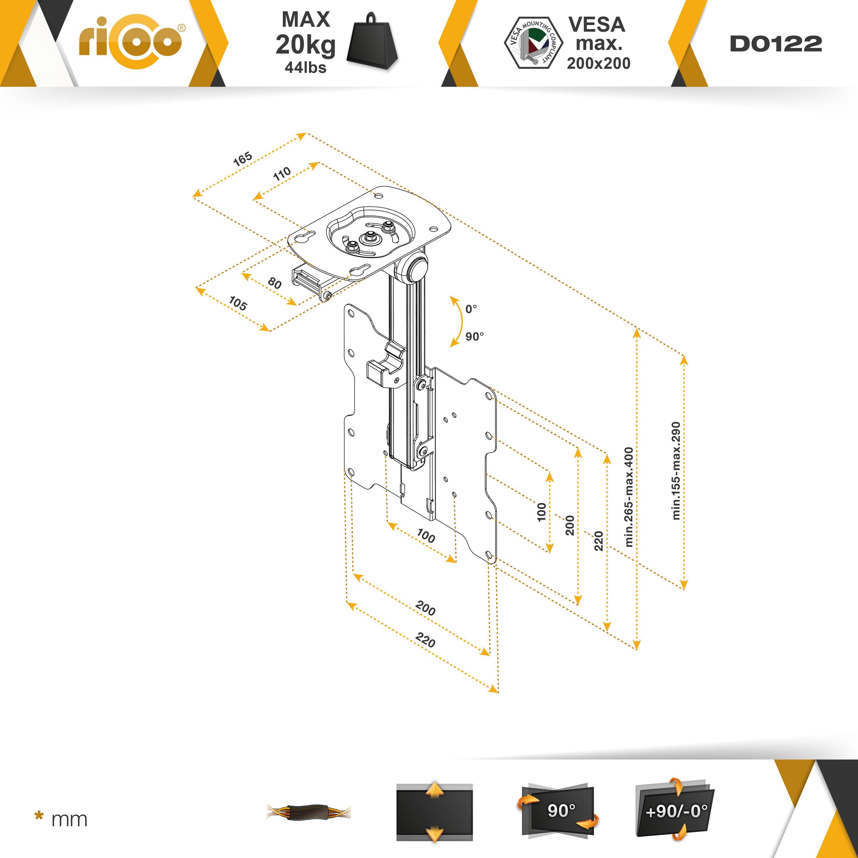 Fernseher Deckenhalterung Drehbar Klappbar TV D0122 Monitorhalterung  Monitor Deckenhalter Schwenkbar Neigbar Schwenkarm Bildschirm Decken  Halterung ...