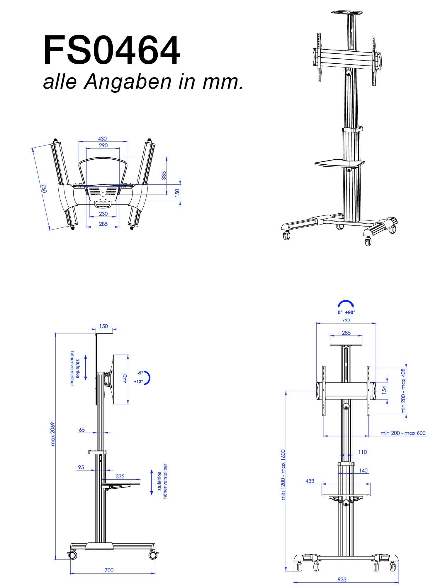 standfuss neigbar schwenkbar tv st nder drehbar mit rollen h henverstellbar fs0464 11288. Black Bedroom Furniture Sets. Home Design Ideas