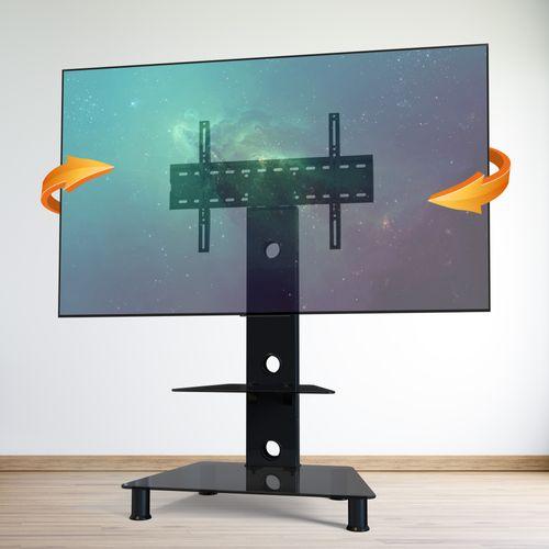 TV Fernseher Ständer Glas-Stand FS707 | Schwenkbar | mit Kabelkanal
