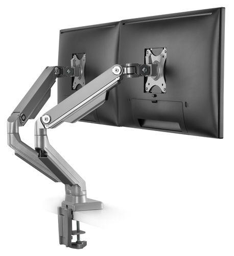 Tischhalterung für 2 Monitore neigbar schwenkbar klappbar mit Doppelarm TS8811