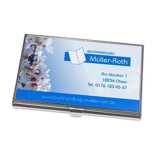 Visitenkartenbox Silber mit Druck, Größe 97 x 68 mm – Bild 1