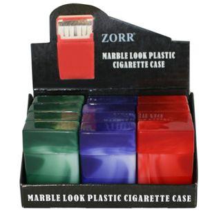 12 x Zigarettenboxen ohne Steg marmoriert farblich sortiert - Kunststoff