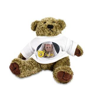 """Plüsch Teddy """"Barney"""" mit individuell bedrucktem T-Shirt - Foto Logo Bild Sitzhöhe ca. 190 mm mit bedruckbarem Shirt mit Wunschmotiv – Bild 1"""