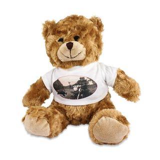"""Plüsch Teddy """"Tim"""" mit individuell bedrucktem T-Shirt - Foto Logo Bild Sitzhöhe ca. 200 mm mit bedruckbarem Shirt mit Wunschmotiv"""