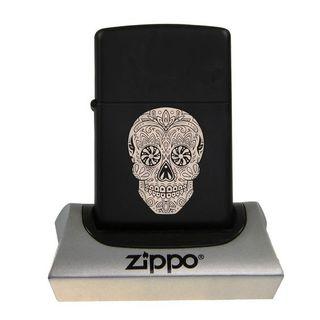 Zippo Black Matte Motiv Skullhead + Zigarettenbox Kunststoff schwarz