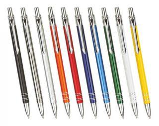 Creativgravur - 100 Metall - Kugelschreiber BOND mit Lasergravur / Gravur - Farben sortenrein oder gemischt  (alle mit gleicher Gravur) - 10 Farben zur Auswahl