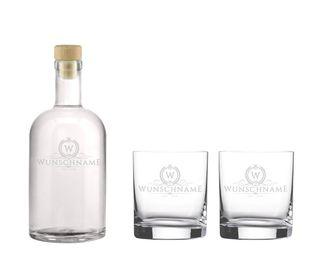 """Edle Whisky Karaffe / Whisky Flasche """"Claus"""" inkl. persönlicher Gravur - wahlweise mit bis zu 6 Gläser - Motiv 01 – Bild 2"""