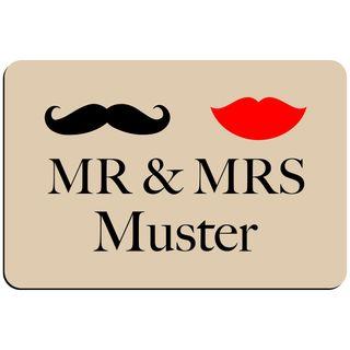 Fußmatte 'Mr. & Mrs. ' Inkl. Ihrem Nachnamen - Personalisierte Schmutzfangmatte, Fußmatte – Bild 1