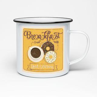Edelstahltasse im Emaille Look Tasse - Kaffee Becher - Tasse weiß im Vintage Look Design robust – 300 ml – für Retro-Küche, Picknick, Outdoor, Camping – Becher emailliert – Bild 4
