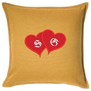 Kissen mit kuscheligem Herz-Applikation und Initialen bestickt Valentinstag uvm. – Bild 4