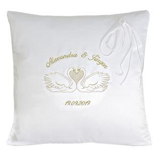 creativgravur® Exklusives Hochzeitskissen Ringkissen bestickt mit Gold Glitzer Garn Namen Datum – Bild 1