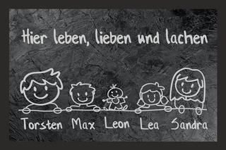 creativgravur® Individuell bedruckte Fußmatte - Schiefer Look mit Wunschnamen Familie Namen