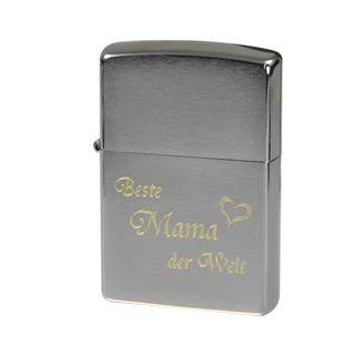 """Zippo Brush Chrom gebürstet Benzinfeuerzeug """"Beste Mama der Welt"""" – Bild 1"""