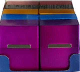 10er Set Zigarettenbox Alu mit Magnet farblich gemischt