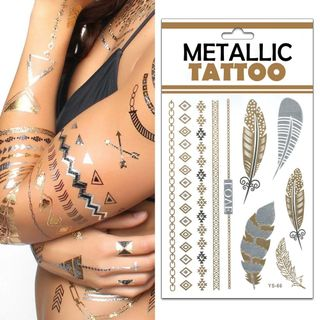 Temporäre Metallic Tattoos - 10er Mix - Der neue Trend aus den USA – Bild 2