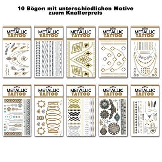 Temporäre Metallic Tattoos - 10er Mix - Der neue Trend aus den USA – Bild 1