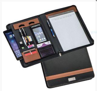 Schreibmappe A4 - Konferenzmappe mit Reißverschluß - Bonded Leder - braun/schwarz – Bild 1