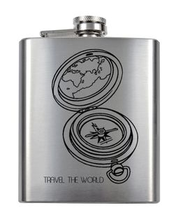 Flachmann 8 oz mit Gravur - Travel the world - mit Namensgravur am linken Rand