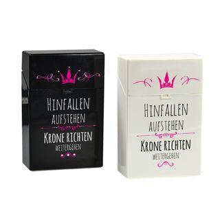 creativgravur® Click Zigaretten Box  - Prinzessin Hinfallen Aufstehen Krone richten weitergehen