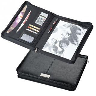 Bonded Leather A4 Schreibmappe mit Taschenrechner und Metallplättchen, schwarz  – Bild 1