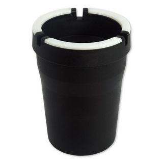 Schwarzer Aschenbecher flexible für Getränkehalter + Dosenhalter mit Leuchtrand – Bild 2
