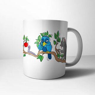 """Lustige FUN Tasse mit Vogel OSKAR - """"...will den Wurm, aber....."""""""