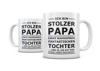creativgravur® Tasse mit Spruch STOLZER PAPA, STOLZE MAMA Kaffeetasse Kaffeebecher Kaffeepot Frühstückstasse Bürotasse