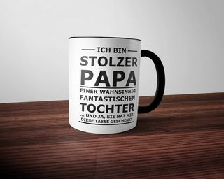 creativgravur® FUN Tasse STOLZER PAPA - Two Tone Black and White – Bild 1