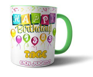 Geschenkedirekt Geburtstagstasse Kaffeebecher mit Alter in Tagen - Geburtstags-Geschenk Kaffeetasse Teetasse  – Bild 10
