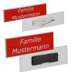 Namensschild inkl. Gravur, Facette mit Magnet oder Nadel - 34 Farbkombinationen - 41 Schriften - Logogravur – Bild 4