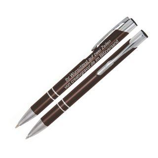 Metall Kugelschreiber mit Gravur (Lasergravur) COSMO Braun, nach Wunsch - 100 Stück.
