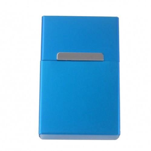 Zigarettenbox Zigarettenetui Alu Blau mit Magnetverschluß wahlweise m. Gravur