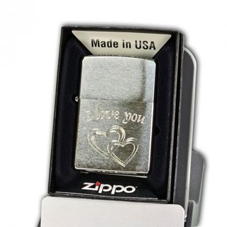 "Zippo Chrome Brushed mit Diamantgravur "" I love you"" + Name oder Datum – Bild 1"