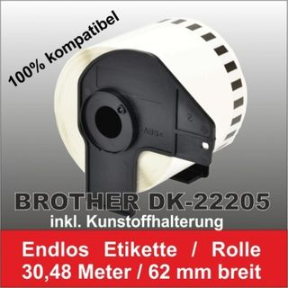 5 x Kompatible DK-22205 Brother Etiketten 62mm x 30.48 Meter inkl. Spule – Bild 1