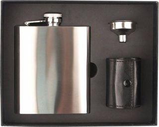 Flachmann Set Edelstahl satiniert 8oz/240ml 4 Becher in PU-Tasche+Trichter in Box  – Bild 1