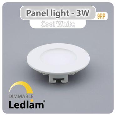LED Einbauleuchte weiß 3 Watt rund 8,5cm tageslichtweiß - dimmbar mit LED Dimmer