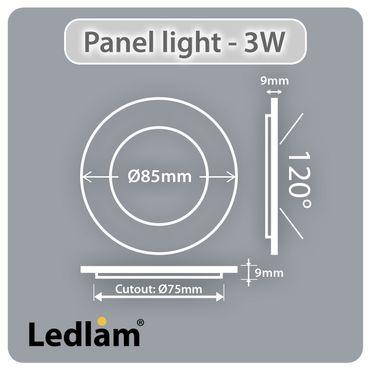 LED Einbauleuchte weiß 3 Watt rund 8,5cm warmweiß - dimmbar mit LED Dimmer – Bild 2