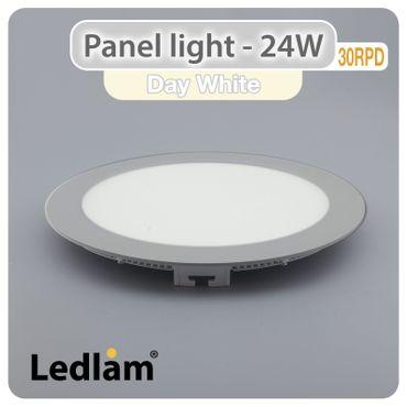 LED Panel 24 Watt rund 30cm neutralweiß - silber