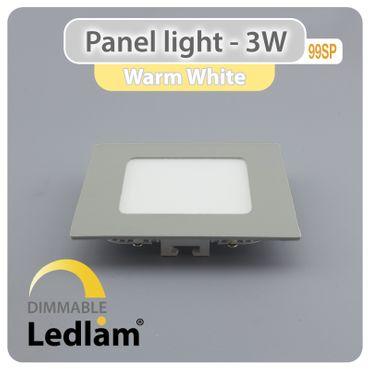 LED Panel 3 Watt quadratisch 8,5x8,5cm warmweiß - silber - dimmbar mit LED Dimmer