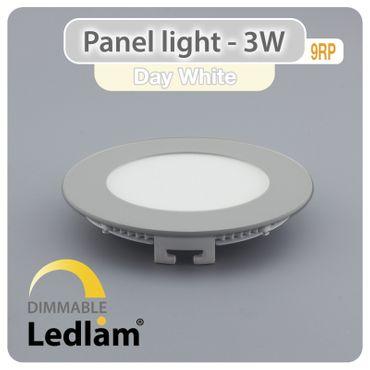 LED Panel 3 Watt rund 8,5cm neutralweiß - silber - dimmbar mit LED Dimmer