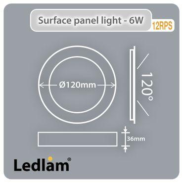 LED Deckenleuchte weiß 6 Watt rund 12cm - tageslichtweiß - dimmbar mit LED Dimmer – Bild 2