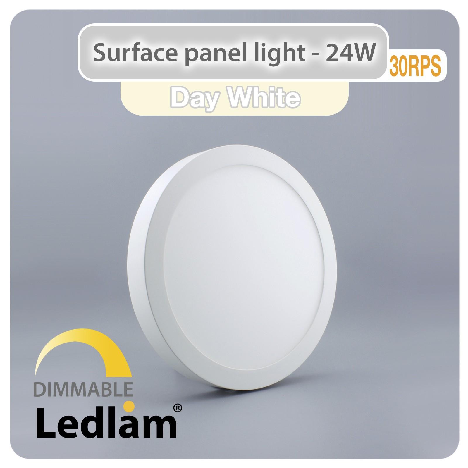 led deckenleuchte wei 24 watt rund 30cm neutralwei dimmbar mit led dimmer. Black Bedroom Furniture Sets. Home Design Ideas