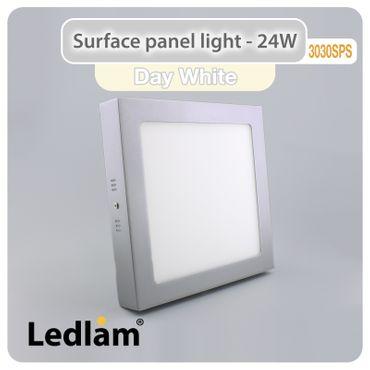 LED Aufbauleuchte 24 Watt quadratisch 30x30cm - neutralweiß - silber – Bild 1