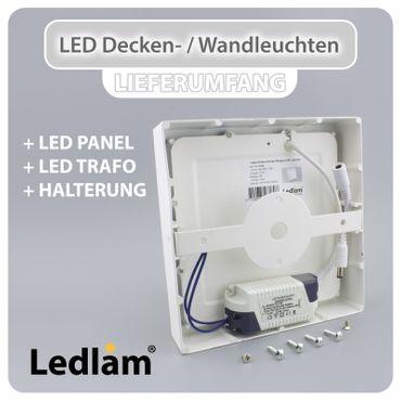 LED Aufbauleuchte 24 Watt quadratisch 30x30cm - warmweiß - silber – Bild 3